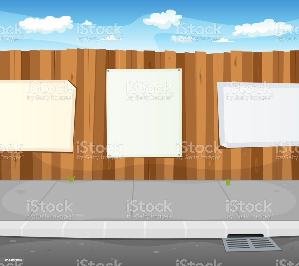 Empty Signs On Urban Wood Fence royalty-free stock vector art