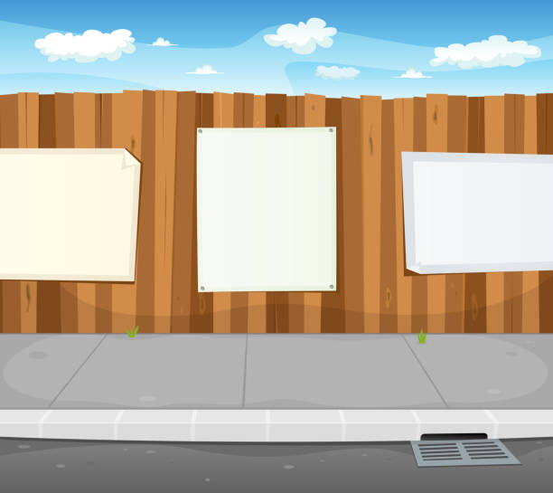 stockillustraties, clipart, cartoons en iconen met empty signs on urban wood fence - stoep