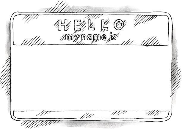 leer aufkleber tag hallo, mein name ist aquarell zeichnung skizze - hello stock-grafiken, -clipart, -cartoons und -symbole