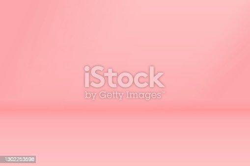 istock Empty studio vector pink background with copy space. 1302253598