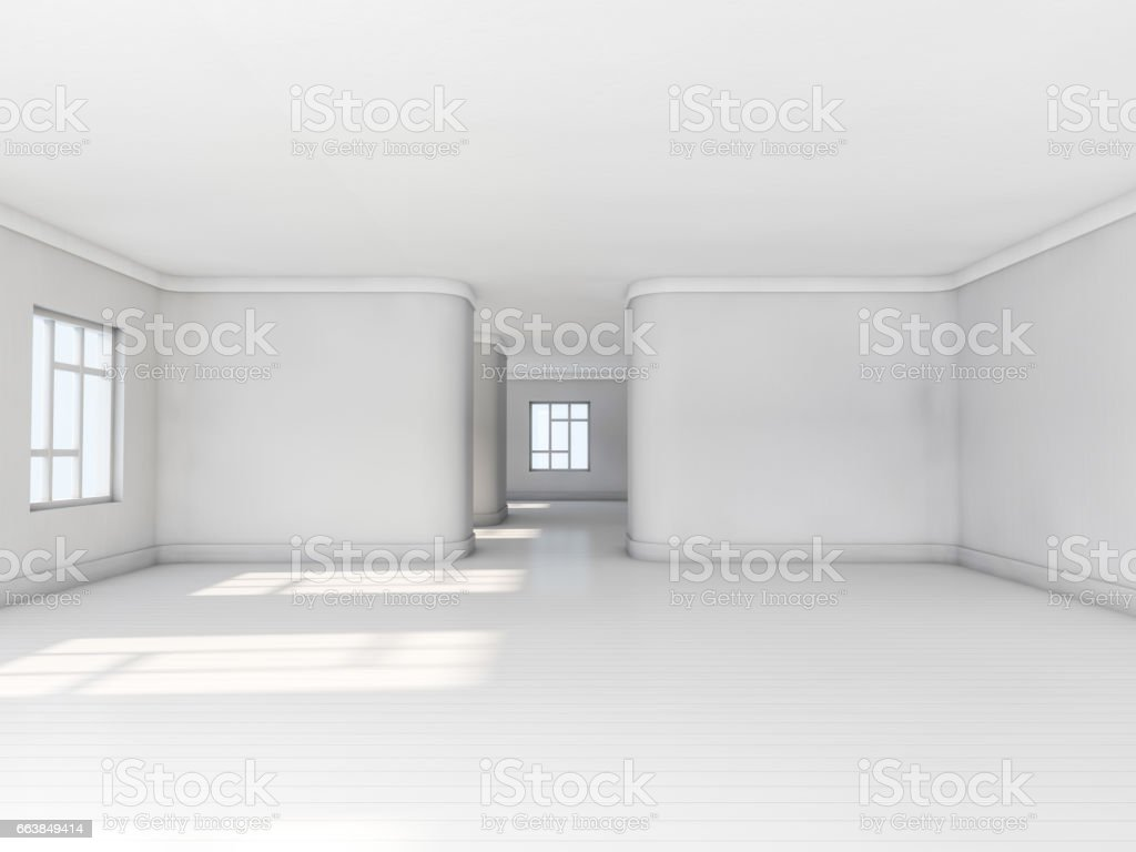 Vazio Quarto Branco Com Piso Em Parquet Janela Grande E Luz Do Sol