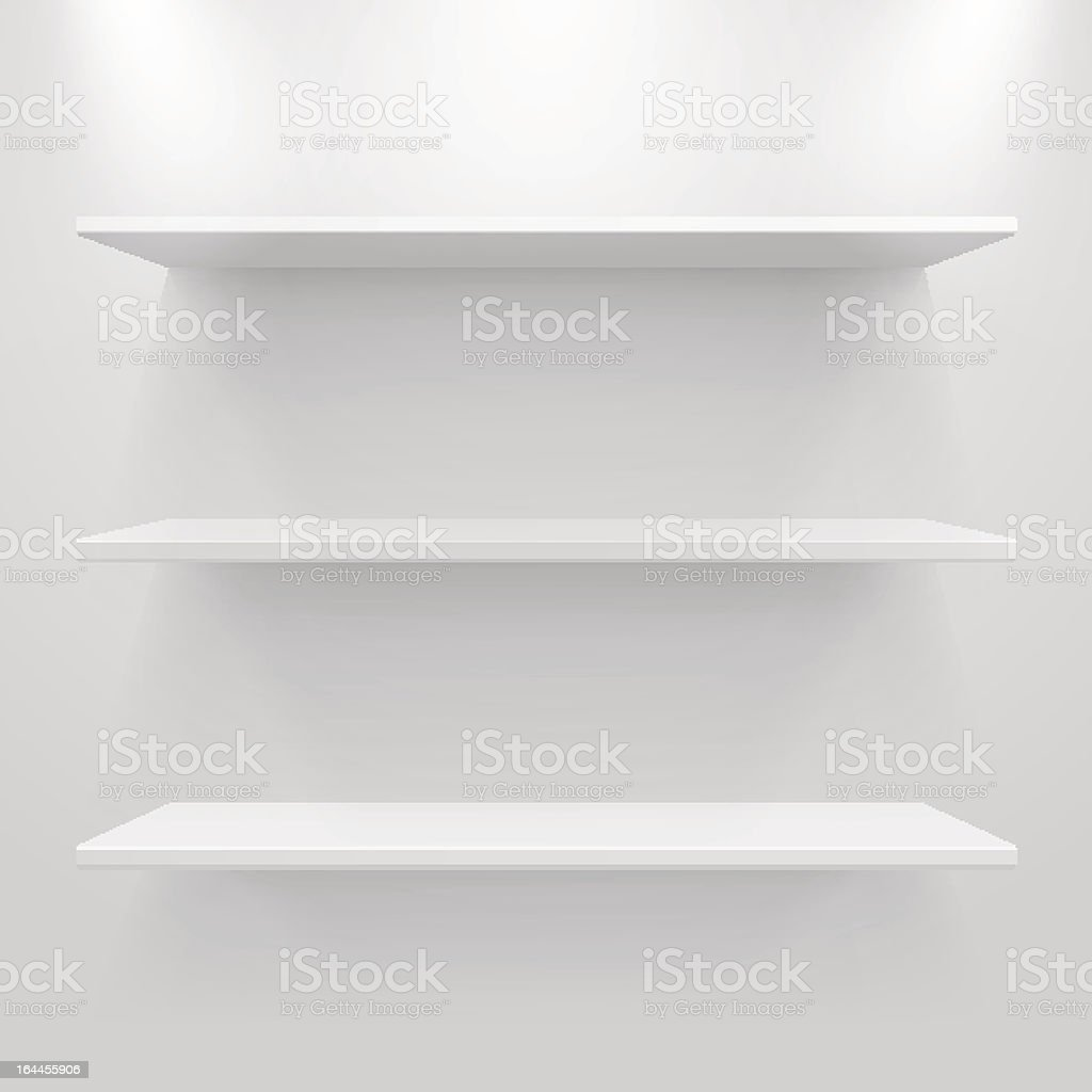 Empty white shelves vector art illustration