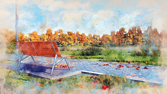 Empty Wood Bench In Autumn Park Watercolor Sketch Stockowe