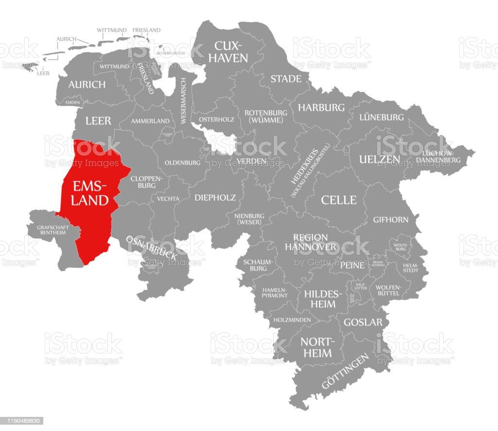 Emsland Karte.Emsland Landkreis Rot In Der Karte Von Niedersachsen Stock Vektor