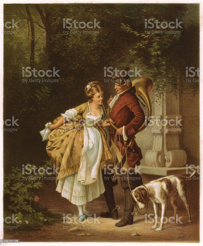 En Passant, Galant scene from the Baroque-period, lithograph, published 1872 royalty-free stock vector art