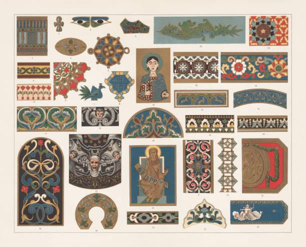 bildbanksillustrationer, clip art samt tecknat material och ikoner med emalj måleri, litografi, utkom 1897 - emalj