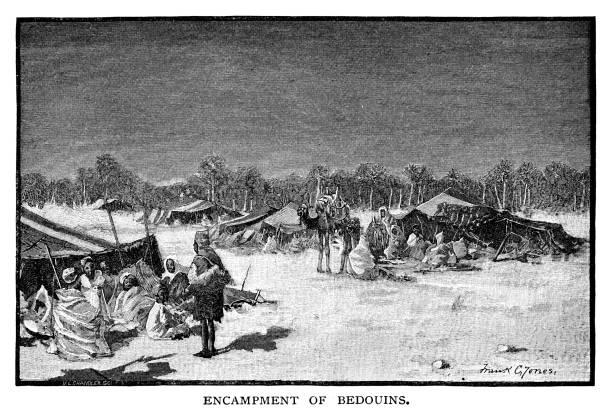 encampment of bedouins - bedouin tent stock illustrations, clip art, cartoons, & icons