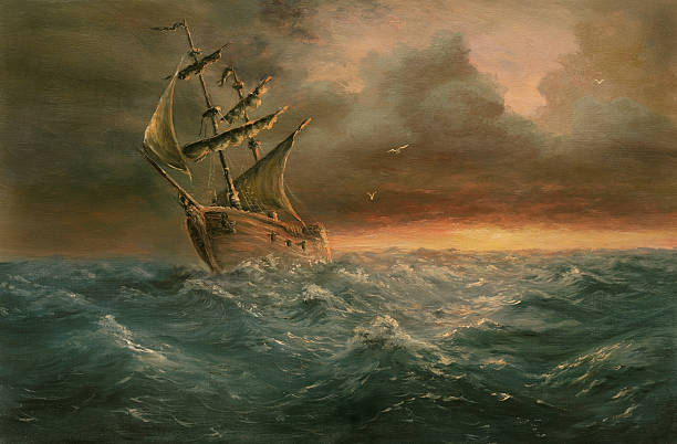 ending storm Painting. A canvas, oil. pirate ship stock illustrations