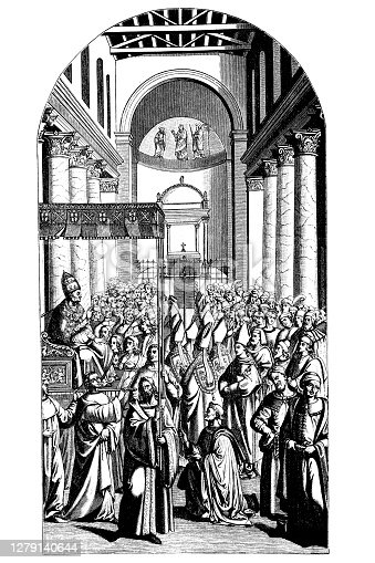 istock Enea Silvio Piccolomini is elected pope ,a mural by Pinturicchio in the library of the Siena Cathedral 1279140644