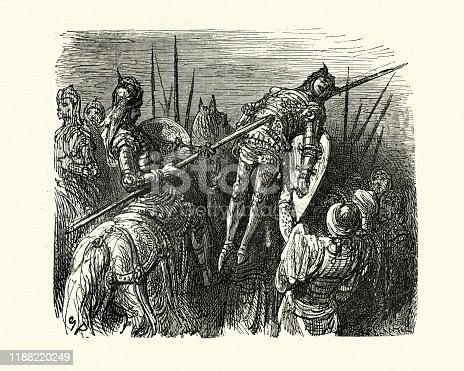 Vintage illustration from the story Orlando Furioso. Enemy knight skewered on a lance. Orlando Furioso (The Frenzy of Orlando) an Italian epic poem by Ludovico Ariosto, illustrated by Gustave Dore. The story is also a chivalric romance which stemmed from a tradition beginning in the late Middle Ages.