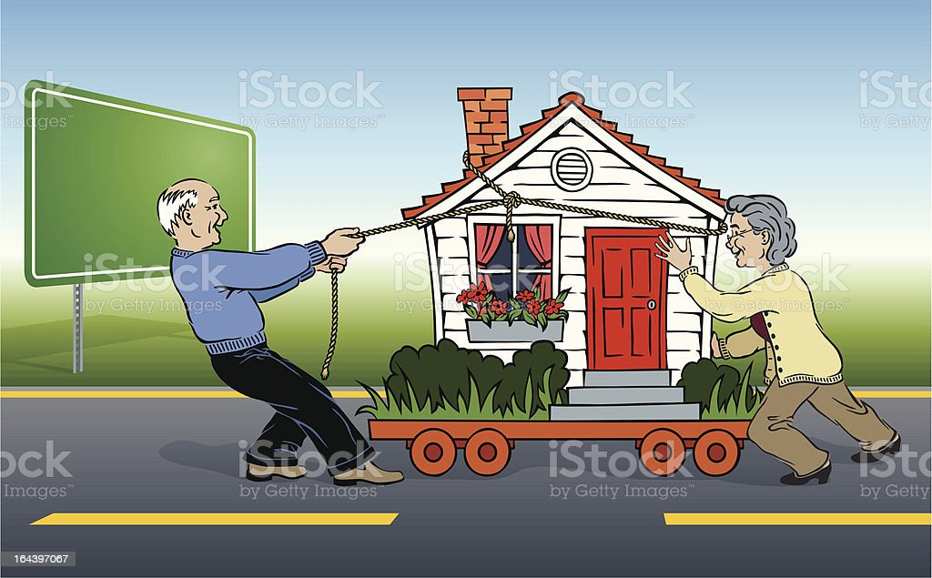 Energetic Elderly Couple Moving House royalty-free stock vector art