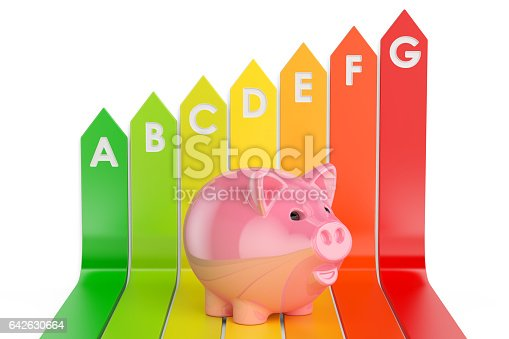 Energy efficiency chart with piggy bank, 3D rendering