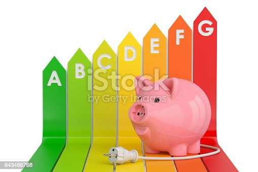 Energy efficiency chart with piggy bank. Saving energy consumption concept, 3D rendering isolated on white background