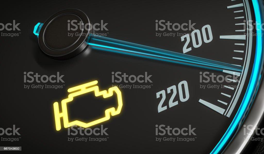 Engine malfunction warning light control in car dashboard. 3D rendered illustration. vector art illustration