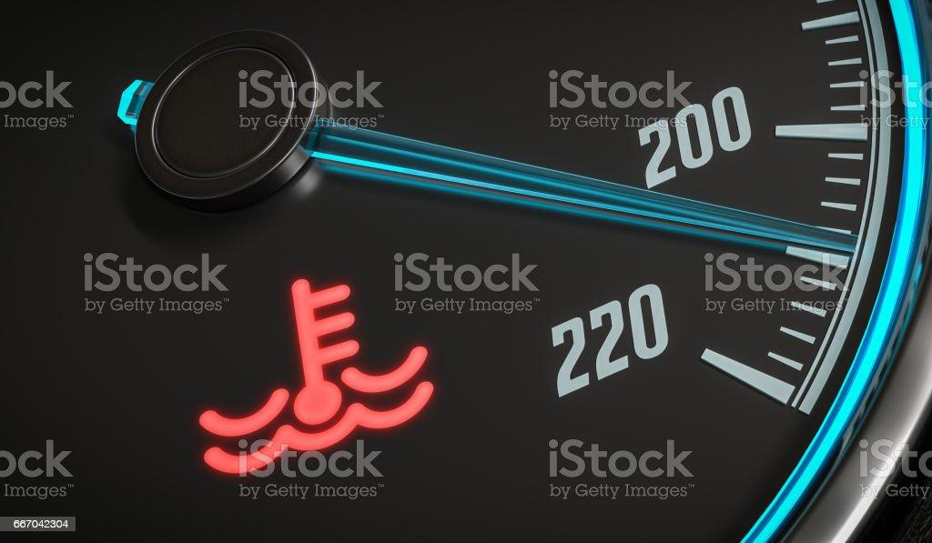 Motorsteuerung Überhitzung Kühlmittelwarnlampe Im Auto Dashboad 3d ...