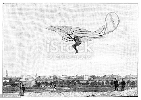 Steel engraving of engineer Otto Lilienthal after photography of Ottomar Anschütz in 1892 Lilienthal's training area was a hill formation called