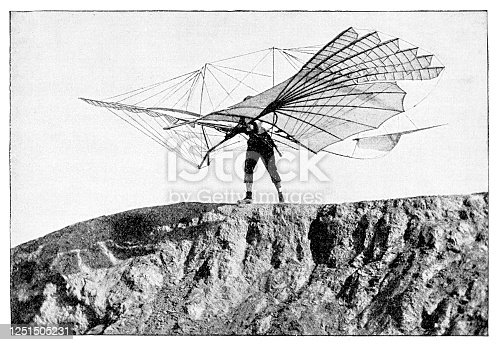 Engineer Otto Lilienthal with flying machine 1895 He was the first person to make well-documented, repeated, successful flights with gliders. Original edition from my own archives Source : Gartenlaube 1899 after photography of Ottomar Anschütz