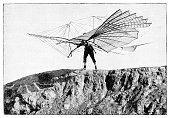 istock Engineer Otto Lilienthal with glider flying machine 1895 1251505231