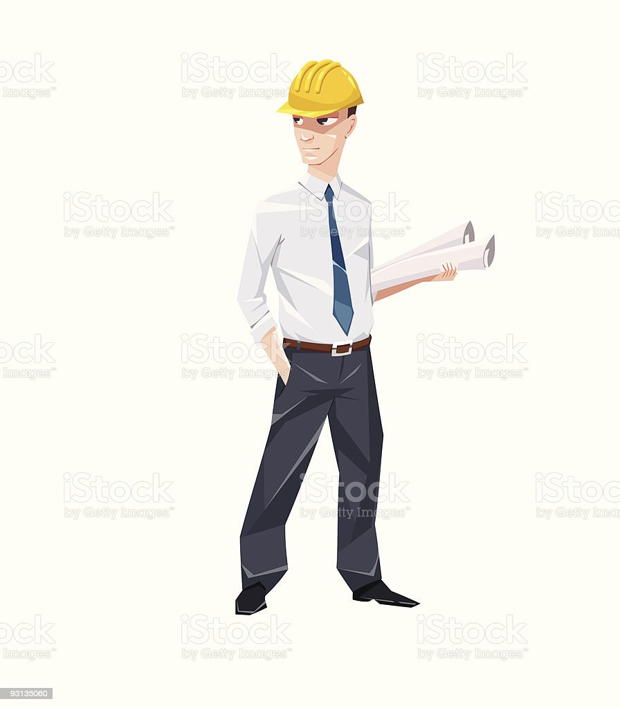 Engineer with documents in hard hat vector art illustration