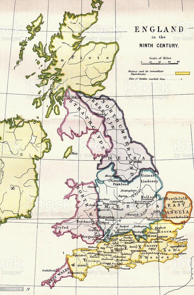 England in the Ninth Century vector art illustration
