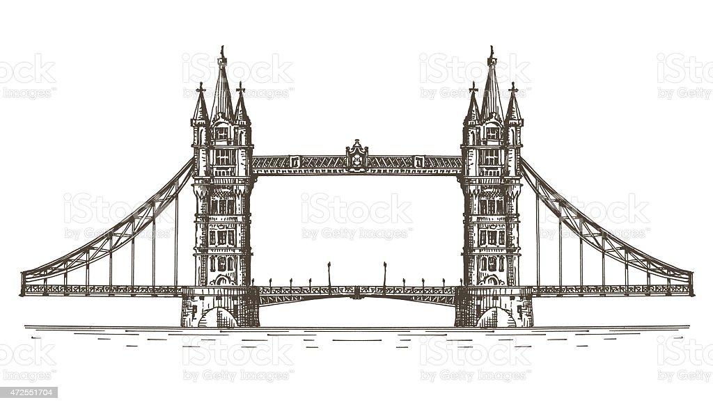 England, London, the bridge on a white background. sketch vector art illustration