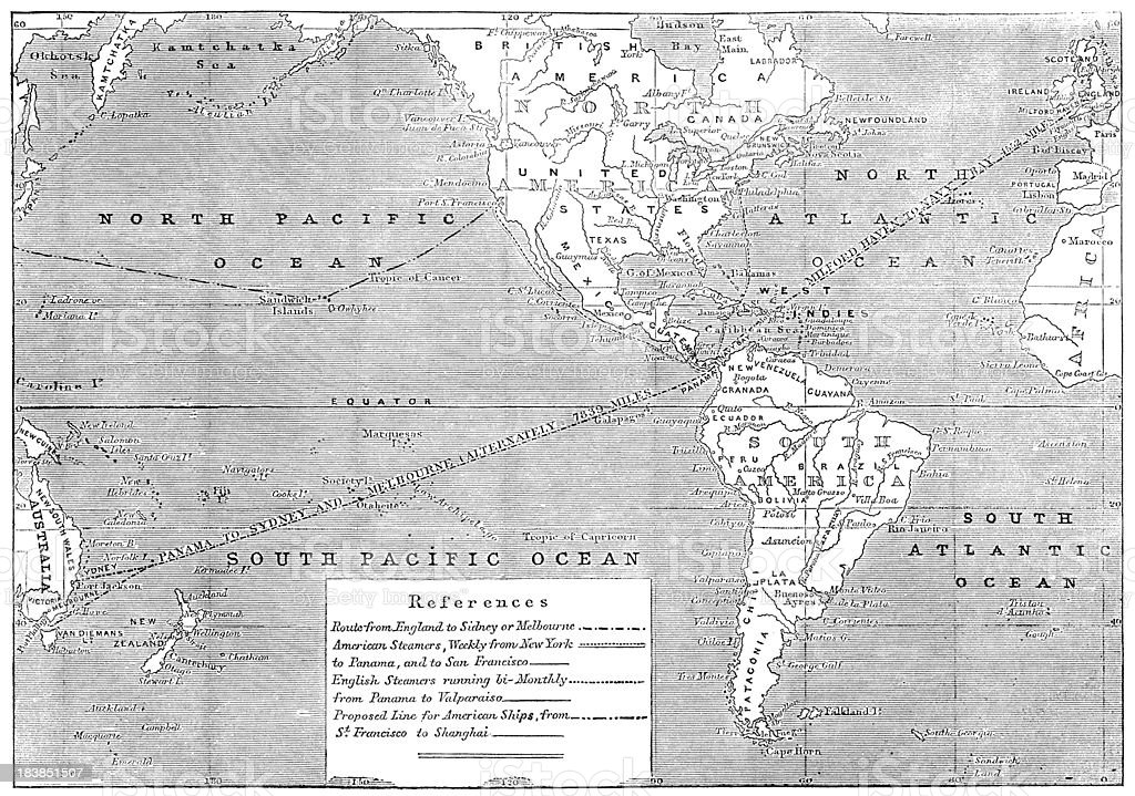Map From England To Australia.England To Australia 1853 Shipping Route Map Illustrated London News
