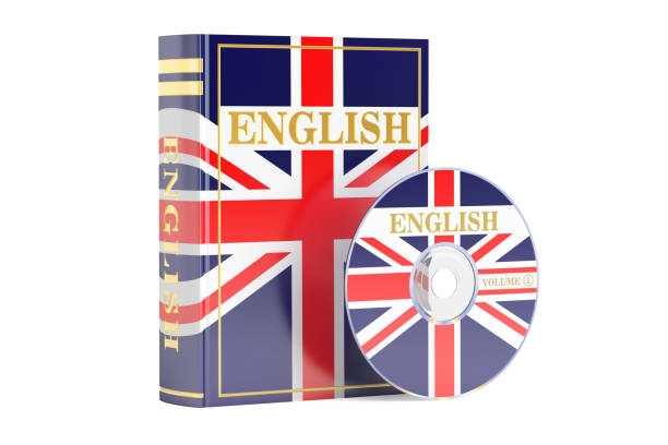 English book with flag of UK and CD disk, 3D rendering isolated on white background vector art illustration
