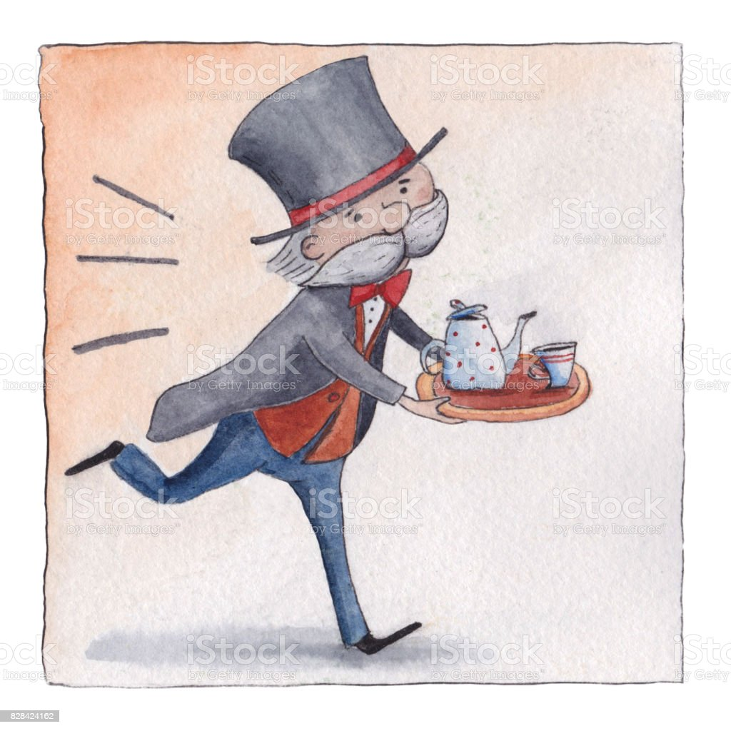 English butler hurrying to serve five o-clock tea vector art illustration