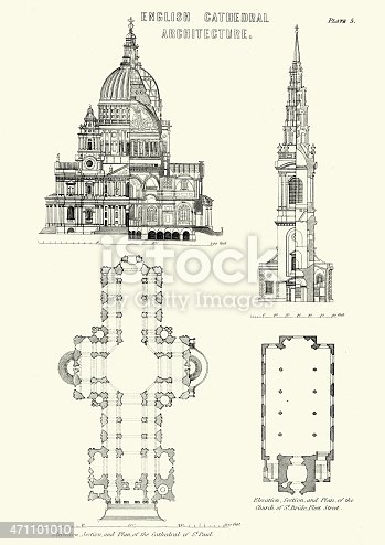 Vintage engraving of examples of English Cathedral Architecture. Cathedral of St Paul and the CHurch of St Bride, Fleet Street, London
