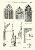 Vintage engraving of examples of English Cathedral Architecture. Windows and Arches, at Lincoln York Cathedrals.