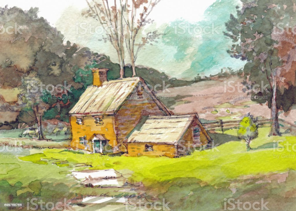 English Cottage Watercolor Royalty Free Stock Vector Art Amp More Images