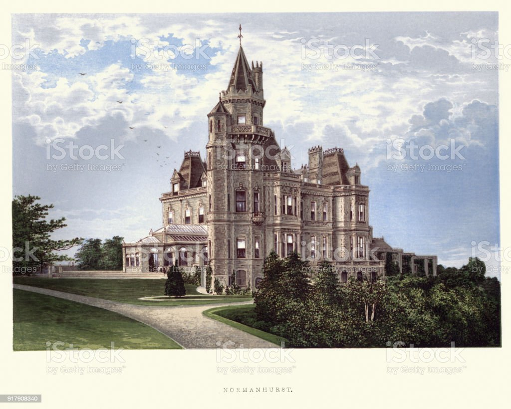 English country mansions - Normanhurst Court, East Sussex vector art illustration