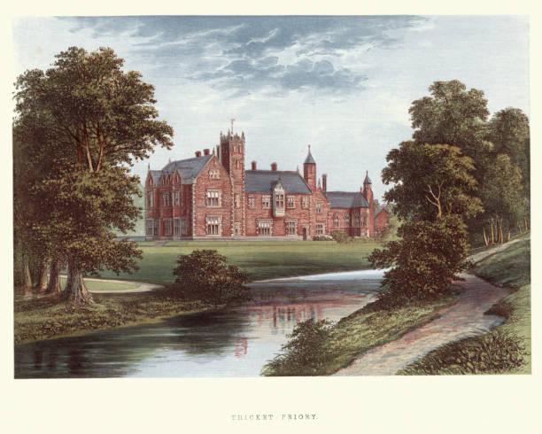 영어 국가 저택-덤 불 priory, 노스 요크 셔 - 잉글랜드 문화 stock illustrations