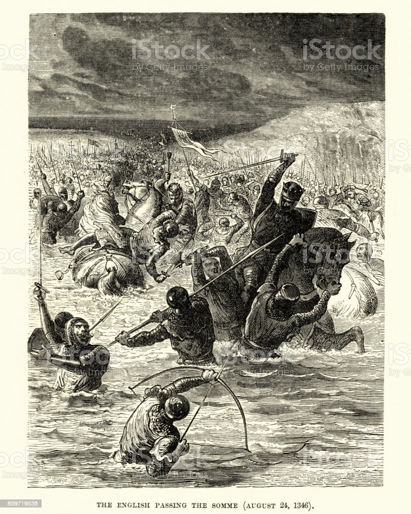 English fording the Somme before Battle of Crecy vector art illustration