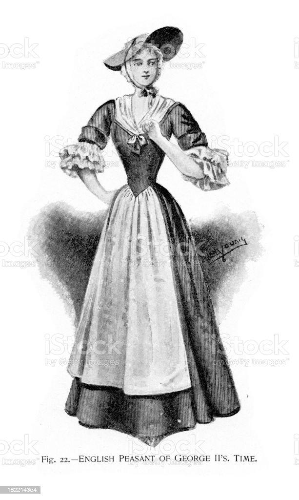 English Peasant of George II Period vector art illustration