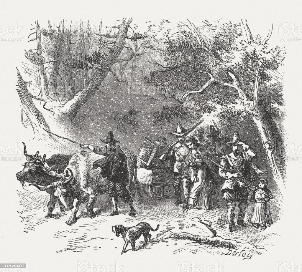 アメリカのイギリス人入植者17世紀前半1876年出版 - 17世紀のベクター ...