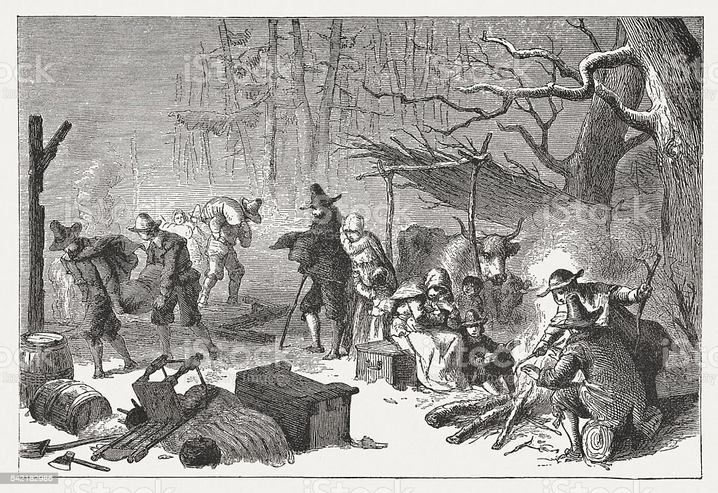 English Settlers in America, 1st half 17th century, published 1884 vector art illustration