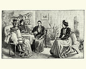 Vintage engraving of English Victorian women talking and having afternoon tea, Late 19th Century