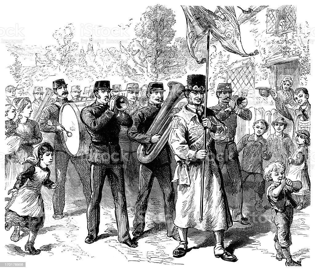 English village parade - Victorian engraving royalty-free english village parade victorian engraving stock vector art & more images of 1850-1859