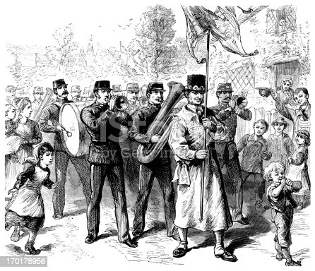 A traditional English village parade in the 19th century. From 'The Boy's Own Paper' 1879-80, a British newspaper for boys which was at that time published by the Religious Tract Society and which featured stories, heroic deeds, facts, educational items and illustrations.
