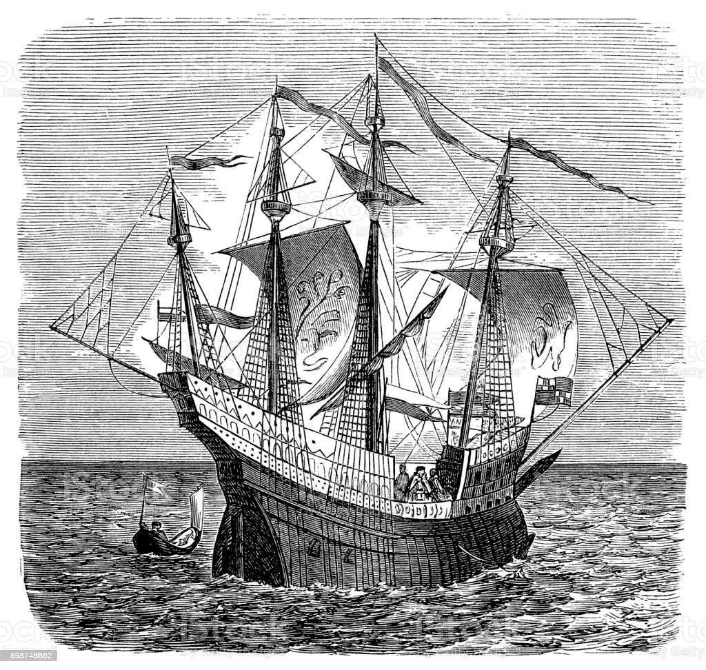 English Warship - Navire de Guerre - middle 16th century vector art illustration