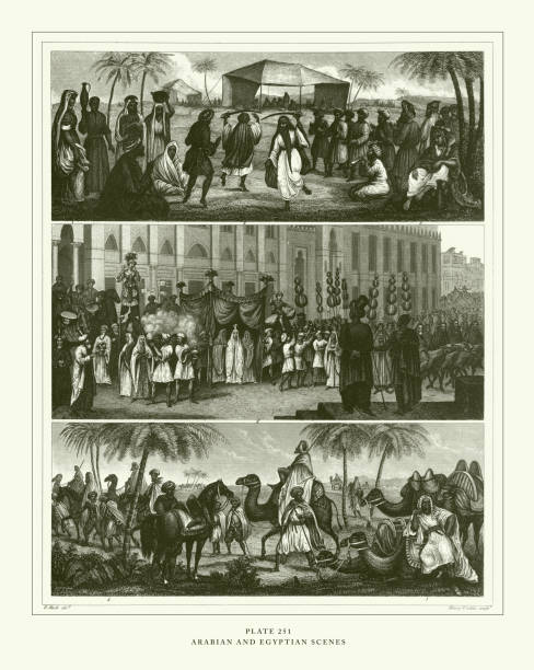 engraved antique, arabian and egyptian scenes engraving antique illustration, published 1851 - bedouin tent stock illustrations, clip art, cartoons, & icons