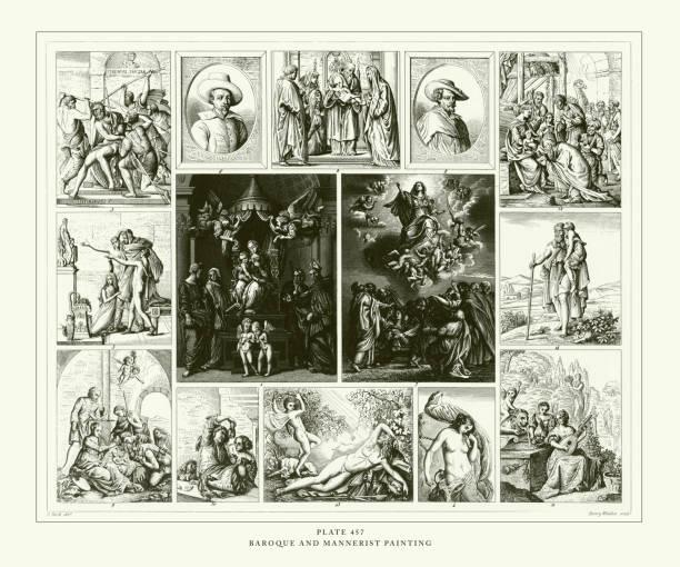 illustrazioni stock, clip art, cartoni animati e icone di tendenza di engraved antique, baroque and mannerist painting engraving antique illustration, published 1851 - ferragosto