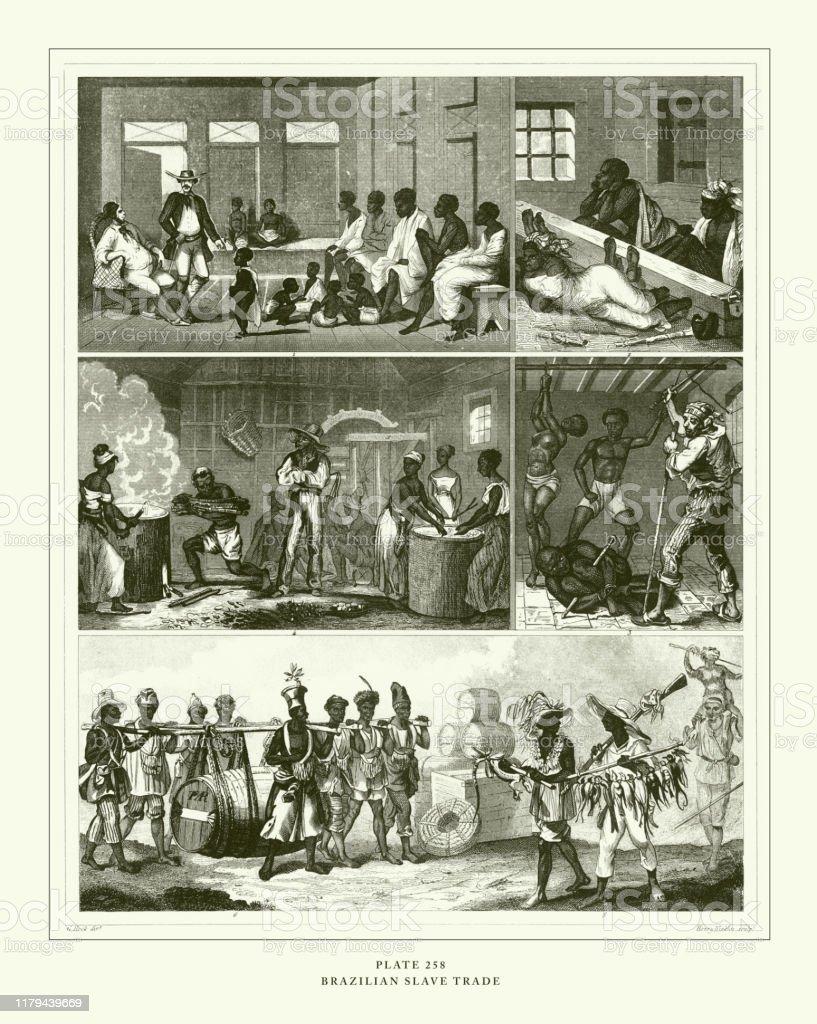 彫刻アンティークブラジルの奴隷貿易彫刻アンティークイラスト1851年 ...