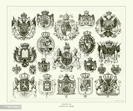 Engraved Antique, Coats of Arms Engraving Antique Illustration, Published 1851