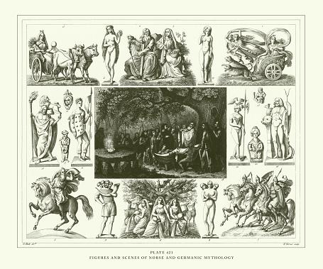 彫刻されたアンティーク北欧神話とゲルマン神話の姿と場面彫刻 ...