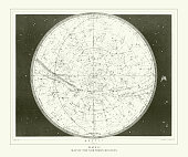 Map of the Northern Heavens Engraving Antique Illustration, Published 1851. Source: Original edition from my own archives. Copyright has expired on this artwork. Digitally restored.
