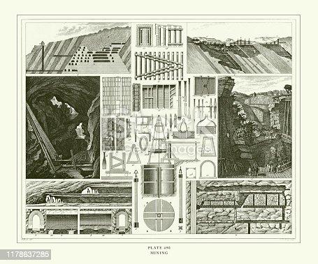 istock Engraved Antique, Mining Engraving Antique Illustration, Published 1851 1178637285