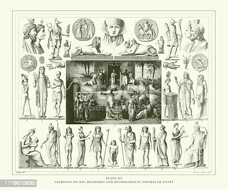 Sacrifice to Isis; Religious and Mythological Figures of Egypt Engraving Antique Illustration, Published 1851. Source: Original edition from my own archives. Copyright has expired on this artwork. Digitally restored.