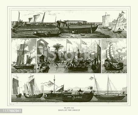 Ships of the Orient Engraving Antique Illustration, Published 1851. Source: Original edition from my own archives. Copyright has expired on this artwork. Digitally restored.